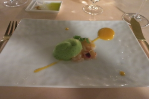 Emince of Lobster on Apricot Puree with Basil Puff